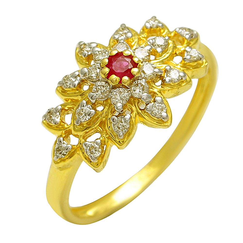 Real Ruby and diamond 18k Gold ring for female