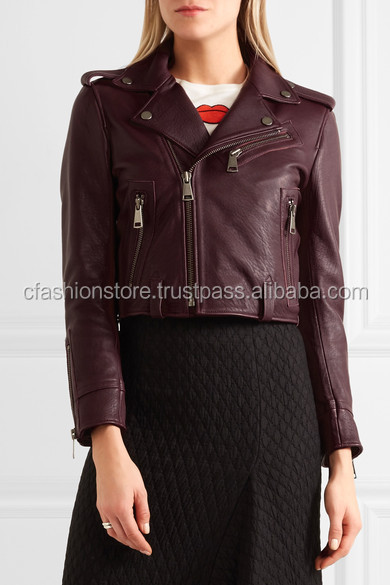 LWFJ-814 Cropped leather biker jacket