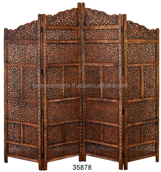 New Wooden Carved Screen Room Divider 4 Panel Brown Color For Sale