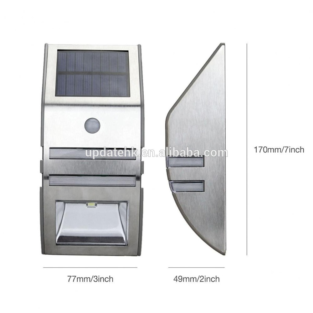 Ultra-Bright Home Solar Induction Garden Lights 2 Led Solar Stainless Steel Stair Wall Lights