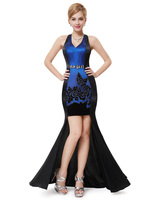 Sexy V-neck Open Blue and Back Diamante Ornamental Trailing Evening Dress HE09951 Mix Wholesale