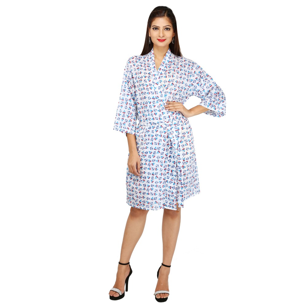 Indian Women's Cotton Solid Color Robe Short Bathrobe Sleepwear Nightwear Favorited Cotton 100% Bathrobe
