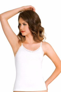 "Basic Women Underwear ""Sleeveless Undershirt with Lacy"""
