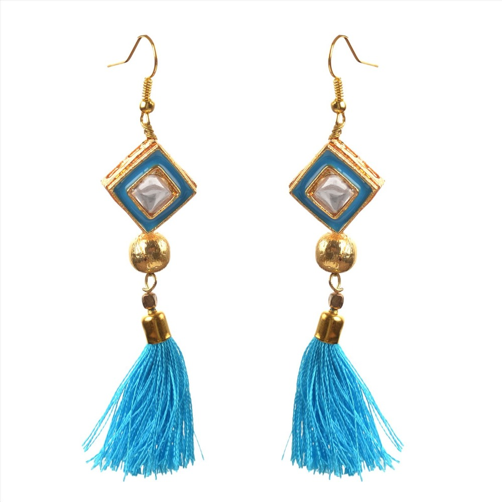 Zephyrr Fashion Lightweight Hook Tassel Earrings for Women with Kundan Meenakari
