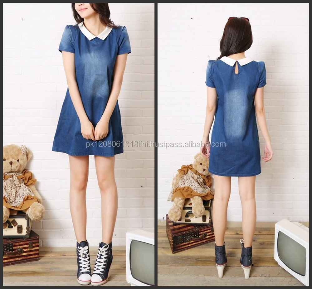 front collar jeans short dress made in denim jeans
