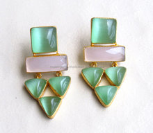 Short Cluster Earrings with Green Monalisa and Pink Chalcedony Stones/Dangling Earrings/Statement Earring for Women