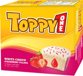 Toppy one White chocolate strawberry 420gr with box fresh cake