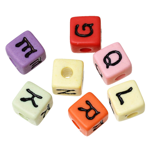 ABS Spacer Beads Cube At Random Alphabet/Letter Pattern About 11.0mm x 11.0mm, Hole: Approx 4.0mm, 100 PCs