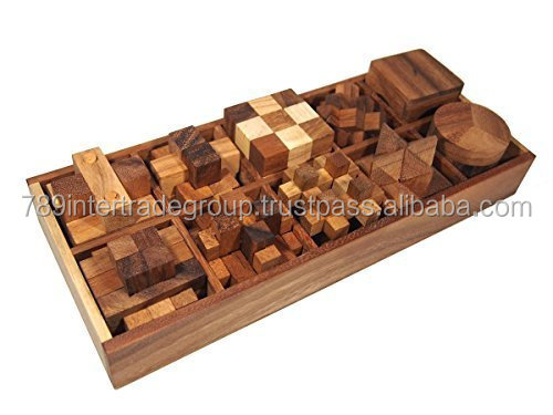 10 of 3D Wood Puzzles Brain Teasers Game in Wooden Box Set. Handmade Wooden Puzzles for Adults