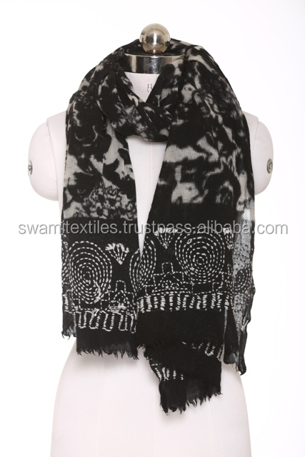 Woven embroidery Black color Women's Scarf 90% Wool & 10% Acrylilic Fabric for Winter