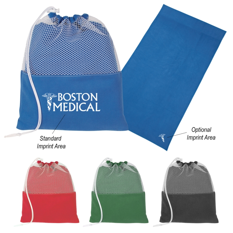 "Microfiber Blanket In Pouch - measures 55"" x 50"", made from suede microfiber, comes with a drawstring pouch with your logo"