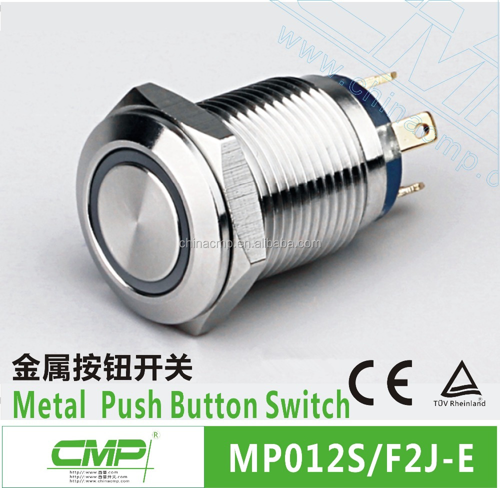 CMP Stainless waterproof momentary 12mm small illuminated push button switch