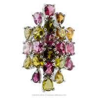 Multi Color Tourmaline Gemstone Rings Jewelry, 925 Sterling Silver Designer Rings, Gemstone Jewellery