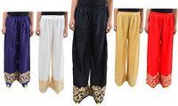 Delightful New Colors Rayon Embroidered Free Size Palazzo Pants (5 Colors Available)