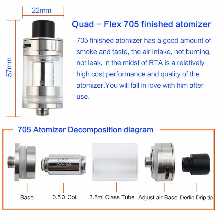 CF Quad-Flex RDTA RDA 705 Atomizer 4 in 1 box
