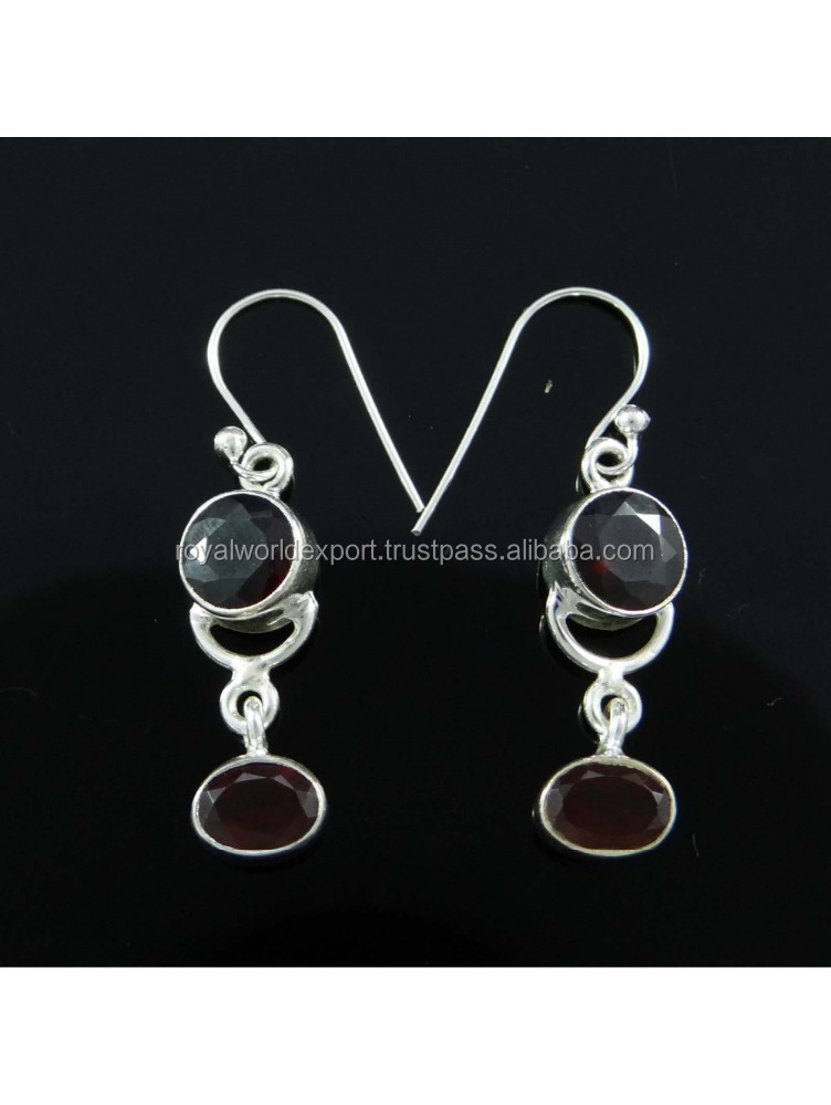 925 Sterling Silver Faceted Garnet Stone Drop Dangle Earrings Fashion Jewelry 2015 Fashionable 925 sterling silver earrings