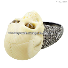 Bone Skull Ring, 925 Sterling Silver Diamond Fashion, Gemstone Carving Jewelry