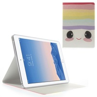 Cute 3D Eye Face and Stripes Silk Texture Smart Leather Stand Cover case For iPad Air 2