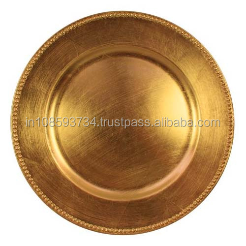charger plate antique gold plate