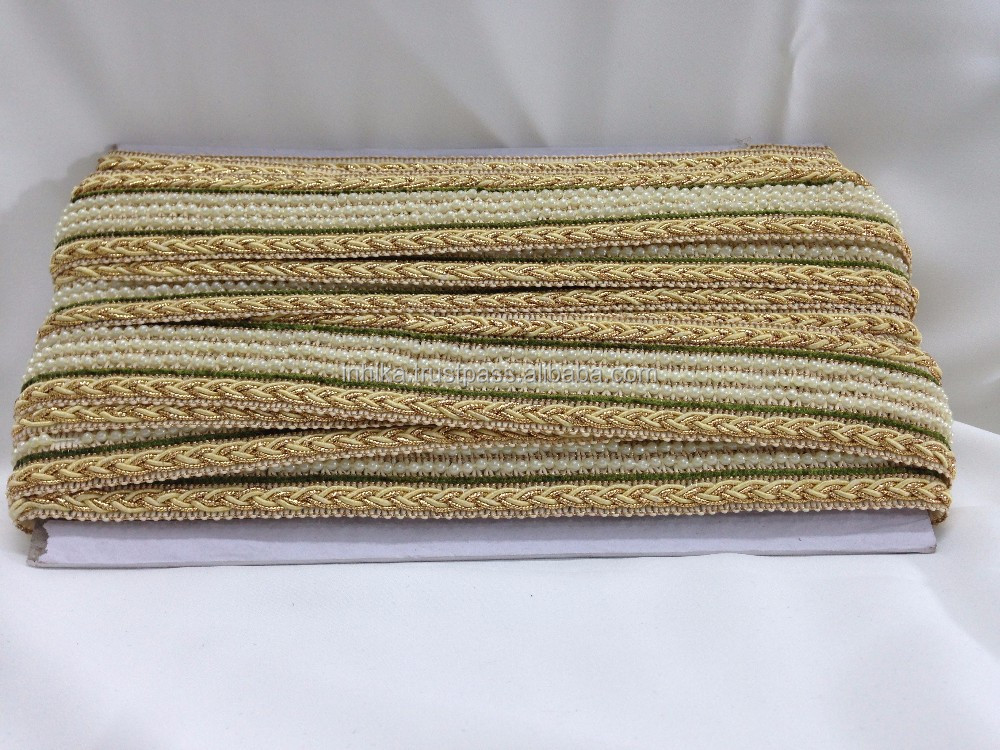 9mtr lace 3 row thin pearl, jali fabric, cream golden border, olive green line