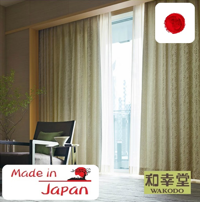 Sample available, made in Japan Japanese designer curtains eyelet grey , blackout curtains