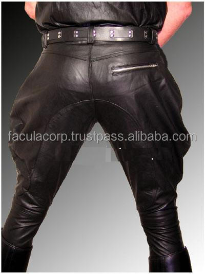 men`s leather pants motocycle pants BREECHES NEW leather trousers/ pants black