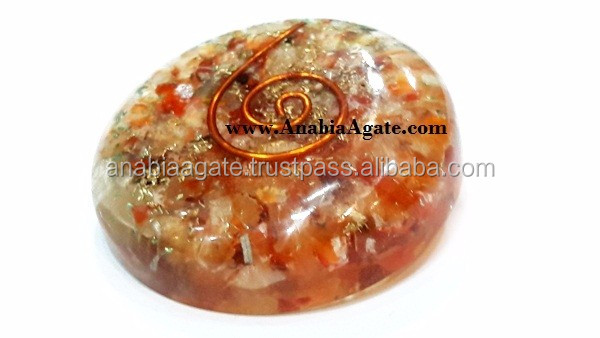 Selenite Orgone Dome: Selenite Orgone Flat Dome / Orgone Paper Weight