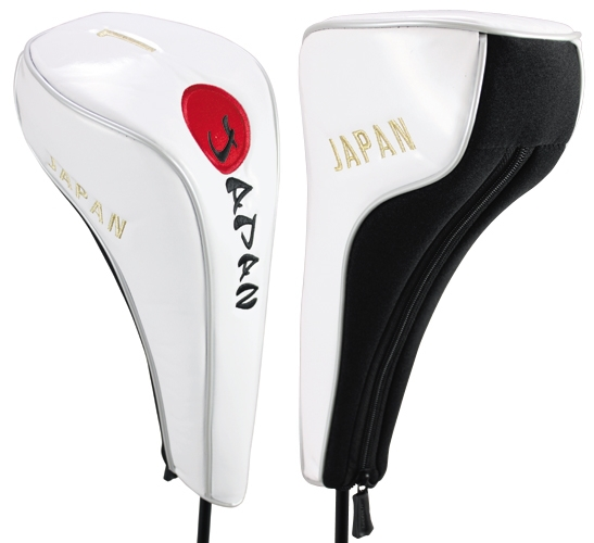 Geatech golf Head cover for Drivers JAPAN WHITE Japanese flag case