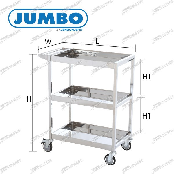 JUMBO Three-Tier Stainless Steel Tray Trolley - Knock-Down Type 200 kg - PU Wheels