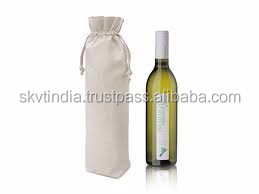 cotton canvas 8oz wine bottle bag