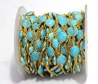 Turquoise Mix Shape Faceted Stations Bezel Beaded Gold Plated Designer 925 Sterling Silver Chain