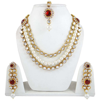 Ethnic Pearl Jewelry Set Rani Haar 3 Strand Necklace Sets India Wedding Jewellry-BNS6491