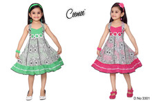 Sleeveless pink, green frock design