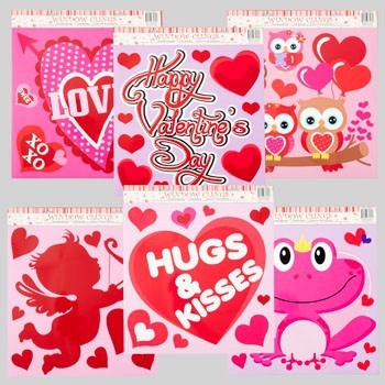WINDOW CLING GIANT LOVE THEME 6AST DESIGNS W/GLITTER #G87085N