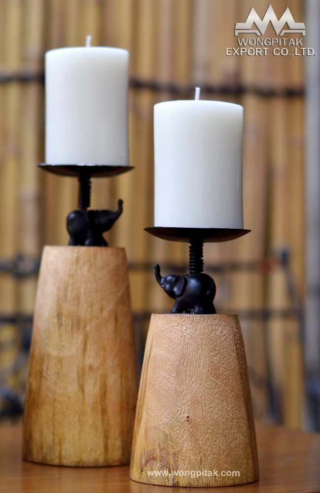 Candle holder mango wood rough texture with elephant decor.