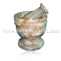 Natural Marble Onyx Designe Mortar and Pestle Handicrafts