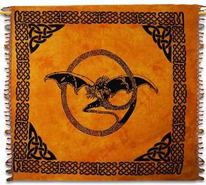 "Celtic Dragon Indian Wall Hanging Cotton Tapestry Full Yellow Tapestries 92"" X 82""-TP1584A"