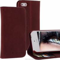 Geniune Leather Lucca Bookstyle case for iPhone 5S / 5 Antic Red Cow Leather