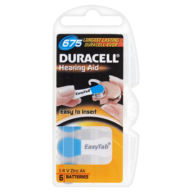 Duracell Hearing Aid battery Easy Tab 675 Blue for siemens hearing aids