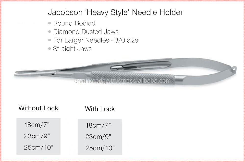 Jacobson Micro 'Heavy Style' Needle Holder (Reusable) /TC Instruments/ Surgical Scissors High Quality Steel