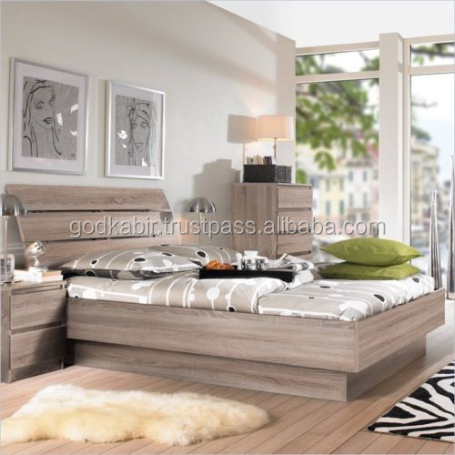 Truffle Brown Full Size Platform Bed Frame with Curved Slat Headboard/ BEDS WITH SOLID WOOD /STYLIST/MULTICOLOUR/GOOD FINISH