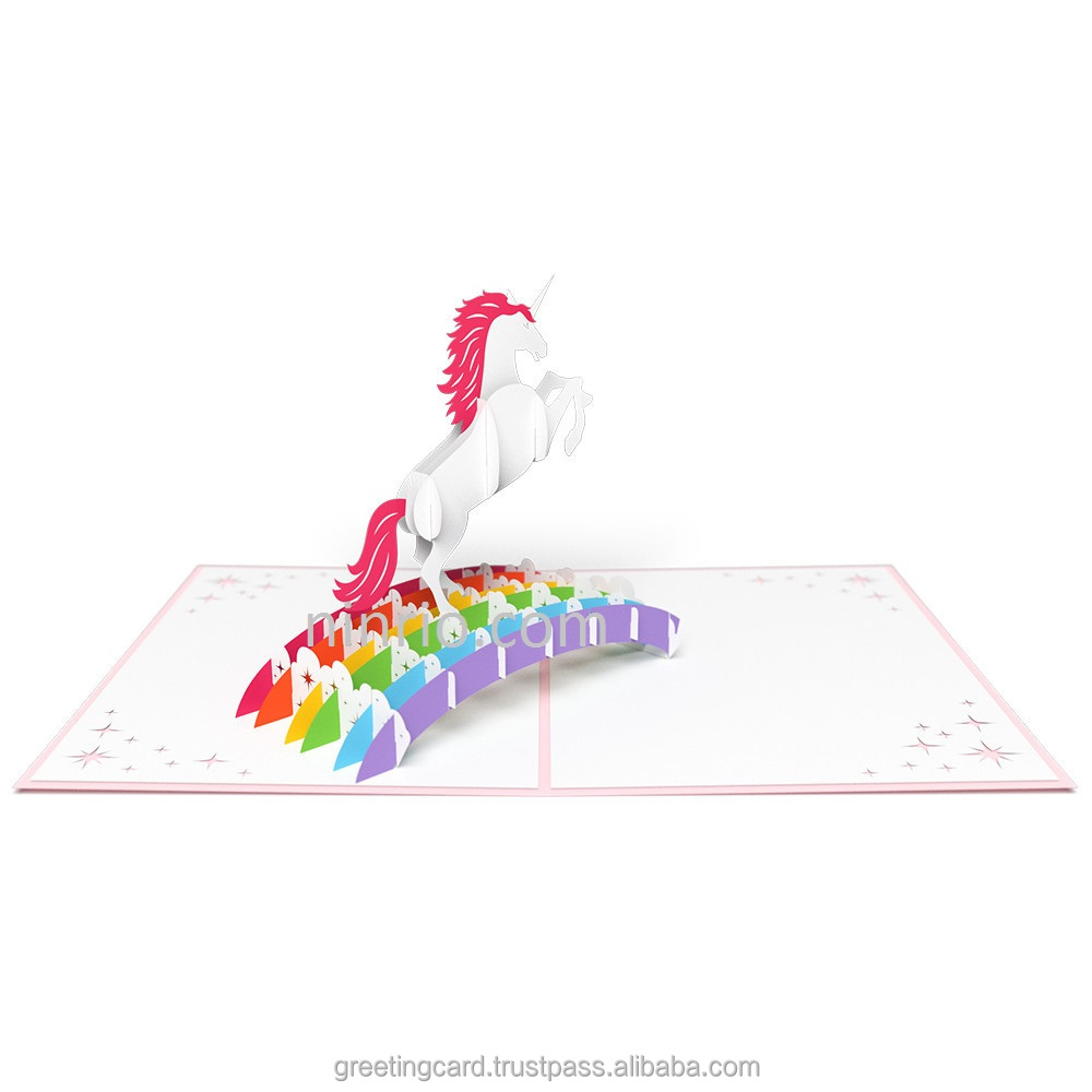 Unicorn 3D pop up card birthday card
