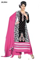 Buy Online Cash On Delivery Black And Pink Color Un Stitched Cotton Salwar Kameez
