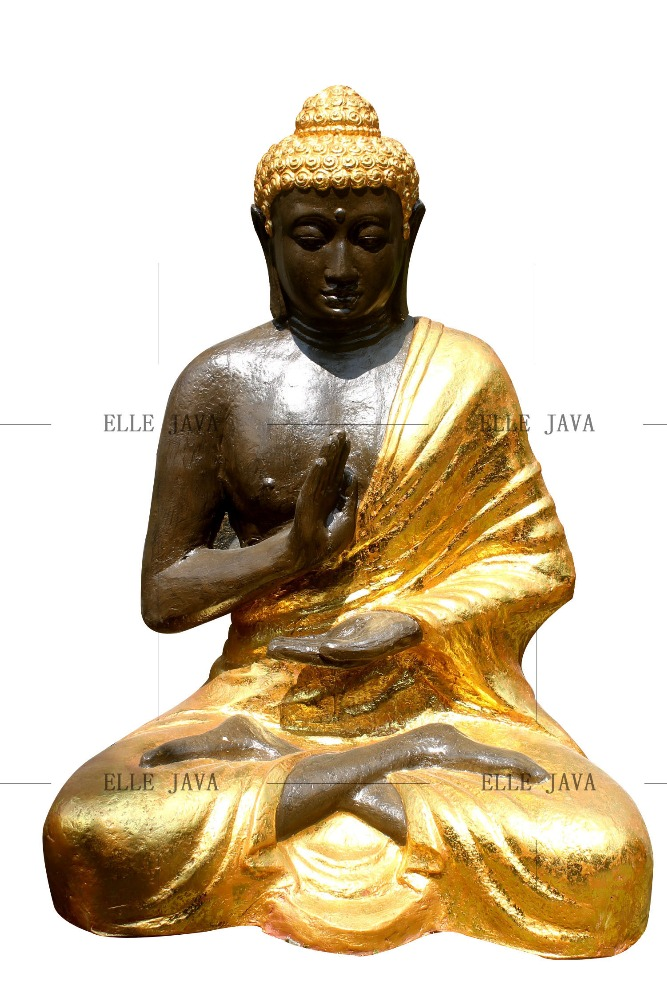 Sitting Buddha Statues with Gold Painting