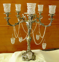 Golden candelabra with crystal hurricane / antique crystal candelabra