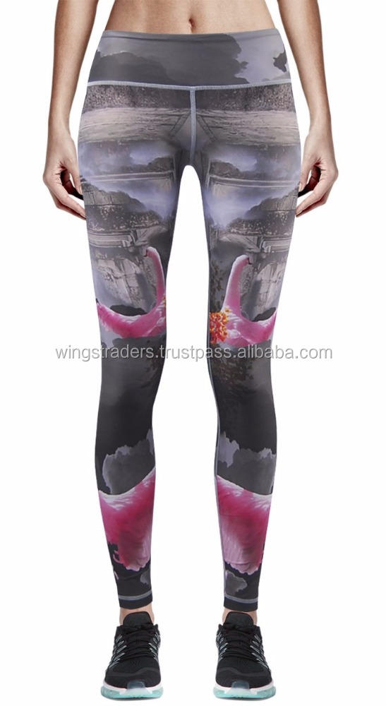 Tights Running Pants Active wear For Women Graphic Leggings Sublimated Trouser