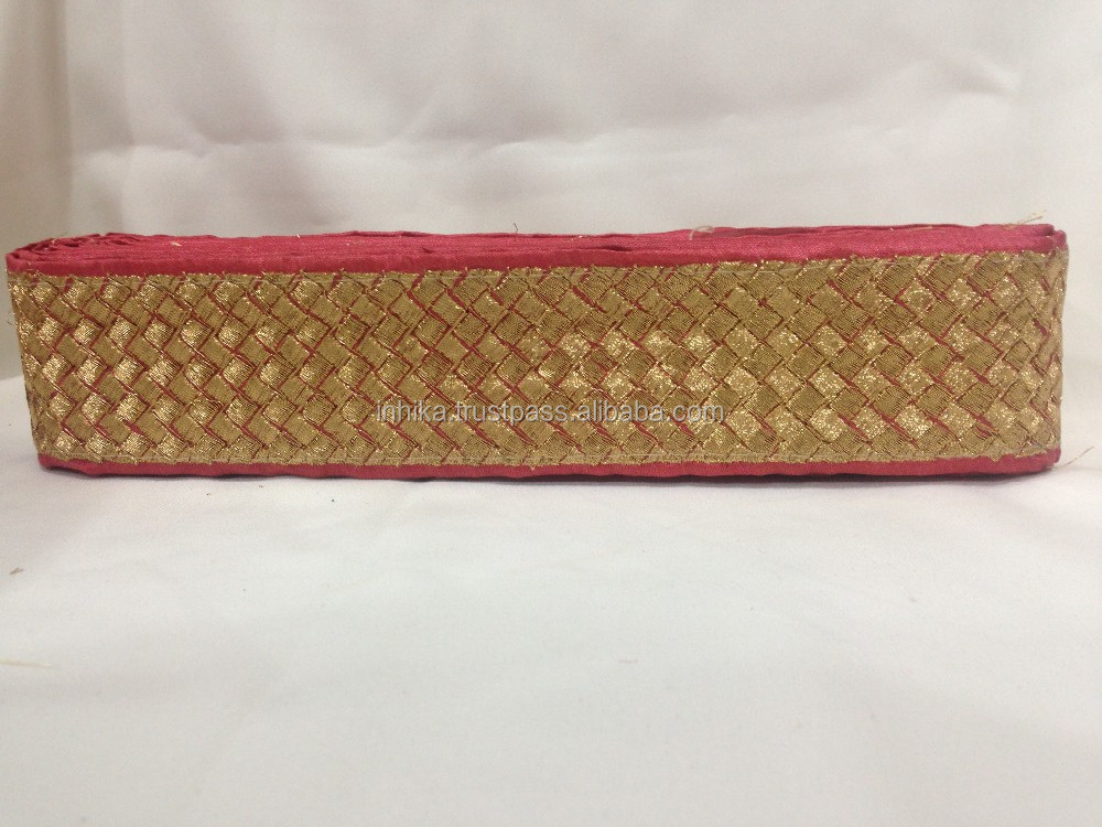 9mtr border trim lace, gold embroidery dark pink base, crop for sari dupatta
