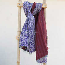 Ethnic Cotton Wrap Shawl Stole Hand Stitched Quilted Indian Kantha Scarves
