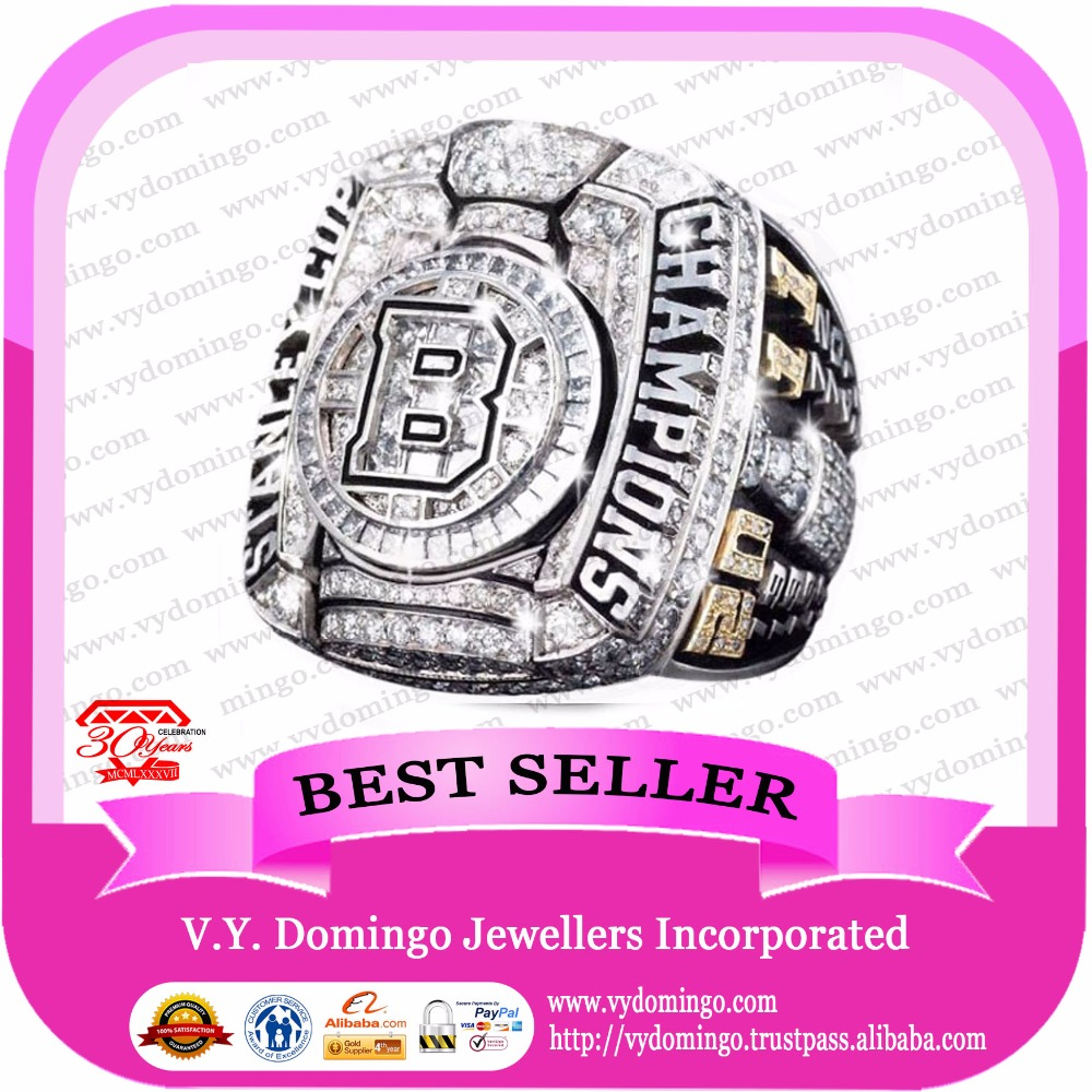 Championship Ring maker real 925 silver Boston Bruins club rings custom logo
