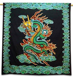 "Black Cotton Dragon Tapestry Hanging Decor Bohemian Full Tapestries 92"" X 82""TP1444"